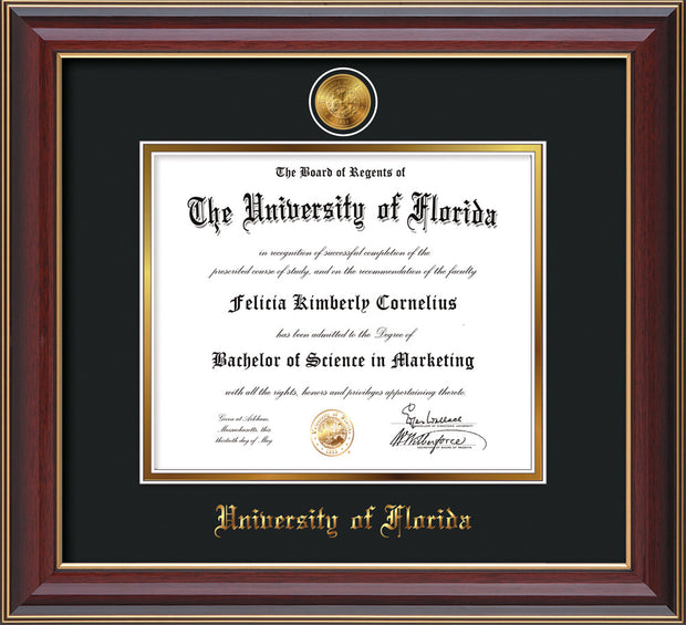 Image of University of Florida Diploma Frame - Cherry Lacquer - w/24k Gold-Plated Medallion UF Name Embossing - Black on Gold mats