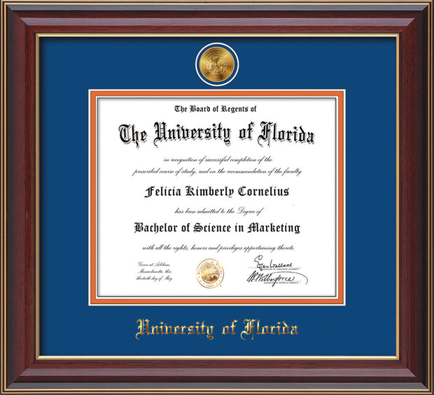 Image of University of Florida Diploma Frame - Cherry Lacquer - w/24k Gold-Plated Medallion UFL Name Embossing - Royal Blue on Orange mats