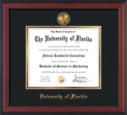 Image of University of Florida Diploma Frame - Cherry Reverse - w/24k Gold-Plated Medallion UF Name Embossing - Black on Gold mats