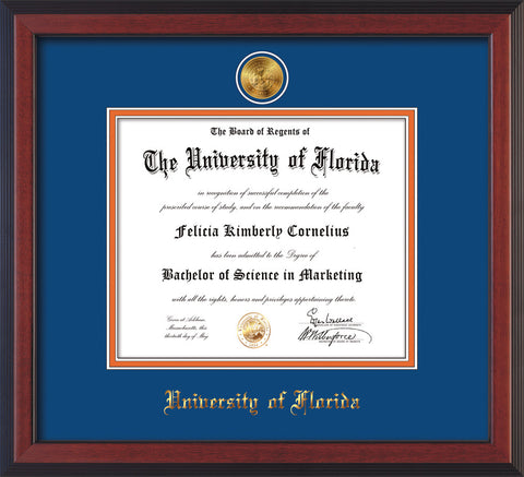 Image of University of Florida Diploma Frame - Cherry Reverse - w/24k Gold-Plated Medallion UFL Name Embossing - Royal Blue on Orange mats