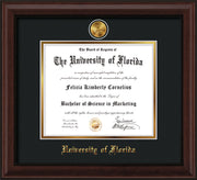 Image of University of Florida Diploma Frame - Mahogany Bead - w/24k Gold-Plated Medallion UF Name Embossing - Black on Gold mats