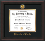 Image of University of Florida Diploma Frame - Mahogany Braid - w/24k Gold-Plated Medallion UF Name Embossing - Black on Gold mats