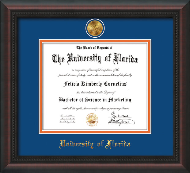 Image of University of Florida Diploma Frame - Mahogany Braid - w/24k Gold-Plated Medallion UFL Name Embossing - Royal Blue on Orange mats