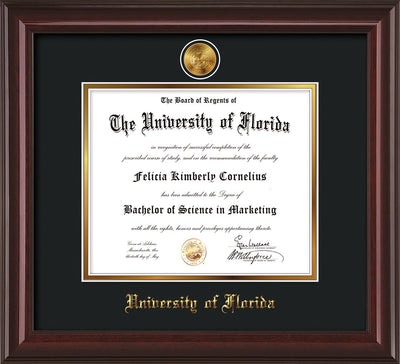 Image of University of Florida Diploma Frame - Mahogany Lacquer - w/24k Gold-Plated Medallion UF Name Embossing - Black on Gold mats