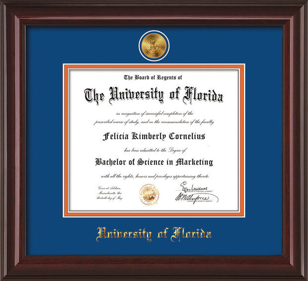 Image of University of Florida Diploma Frame - Mahogany Lacquer - w/24k Gold-Plated Medallion UFL Name Embossing - Royal Blue on Orange mats