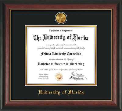 Image of University of Florida Diploma Frame - Rosewood w/Gold Lip - w/24k Gold-Plated Medallion UF Name Embossing - Black on Gold mats