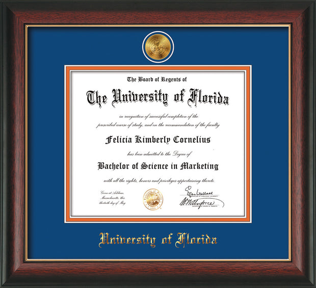 Image of University of Florida Diploma Frame - Rosewood w/Gold Lip - w/24k Gold-Plated Medallion UFL Name Embossing - Royal Blue on Orange mats