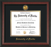 Image of University of Florida Diploma Frame - Rosewood - w/24k Gold-Plated Medallion UF Name Embossing - Black on Gold mats