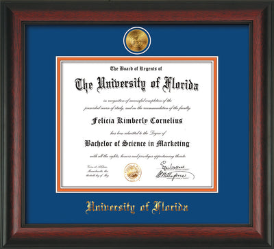 Image of University of Florida Diploma Frame - Rosewood - w/24k Gold-Plated Medallion UFL Name Embossing - Royal Blue on Orange mats