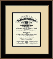 Image of University of Missouri Diploma Frame - Black Lacquer - w/No Embossing - Cream on Black mat