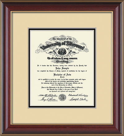 Image of University of Missouri Diploma Frame - Cherry Lacquer - w/No Embossing - Cream on Black mat