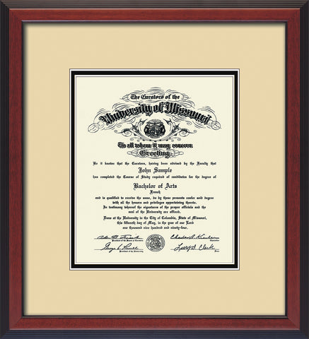 Image of University of Missouri Diploma Frame - Cherry Reverse - w/No Embossing - Cream on Black mat