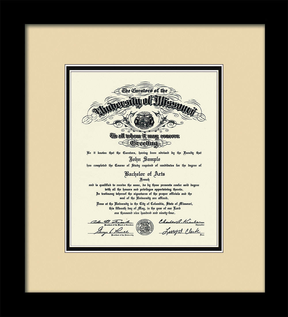 University Of Missouri Diploma Frame Vintage Black Scoop W