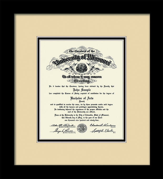 Image of University of Missouri Diploma Frame - Flat Matte Black - w/No Embossing - Cream on Black mat