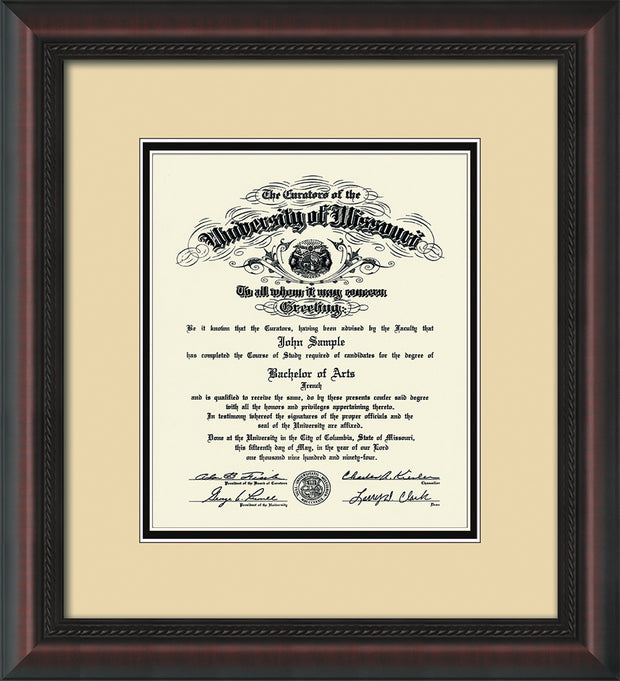 Image of University of Missouri Diploma Frame - Mahogany Braid - w/No Embossing - Cream on Black mat