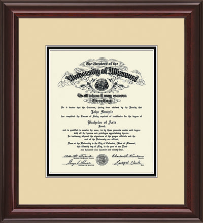 Image of University of Missouri Diploma Frame - Mahogany Lacquer - w/No Embossing - Cream on Black mat