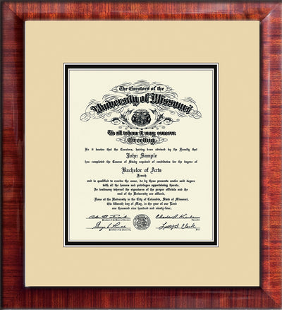 Image of University of Missouri Diploma Frame - Mezzo Gloss - w/No Embossing - Cream on Black mat