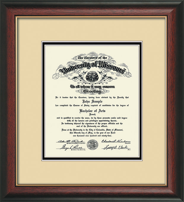 Image of University of Missouri Diploma Frame - Rosewood w/Gold Lip - w/No Embossing - Cream on Black mat