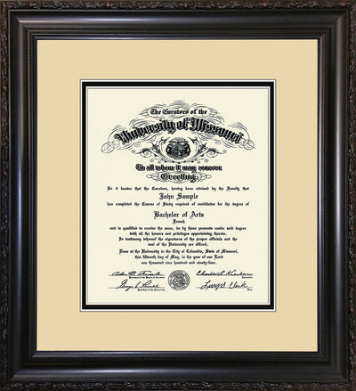 Image of University of Missouri Diploma Frame - Vintage Black Scoop - w/No Embossing - Cream on Black mat