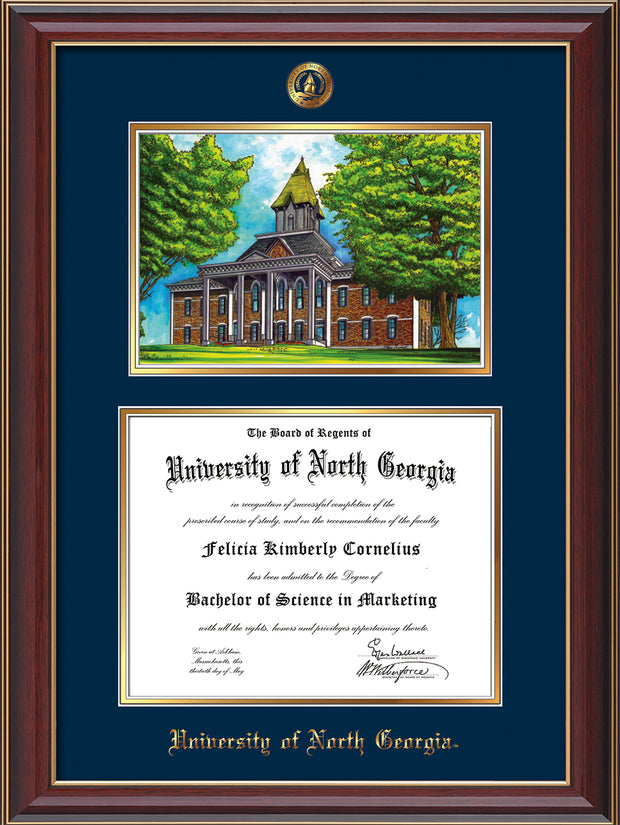 Image of University of North Georgia Diploma Frame - Cherry Lacquer - w/Embossed UNG Seal & Name - Campus Watercolor - Navy on Gold mat