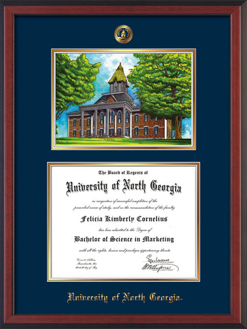 Image of University of North Georgia Diploma Frame - Cherry Reverse - w/Embossed UNG Seal & Name - Campus Watercolor - Navy on Gold mat