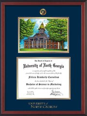 Image of University of North Georgia Diploma Frame - Cherry Reverse - w/Embossed UNG Seal & Wordmark - Campus Watercolor - Navy on Gold mat