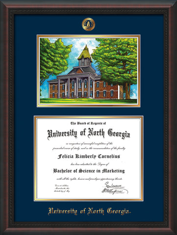 Image of University of North Georgia Diploma Frame - Mahogany Braid - w/Embossed UNG Seal & Name - Campus Watercolor - Navy on Gold mat