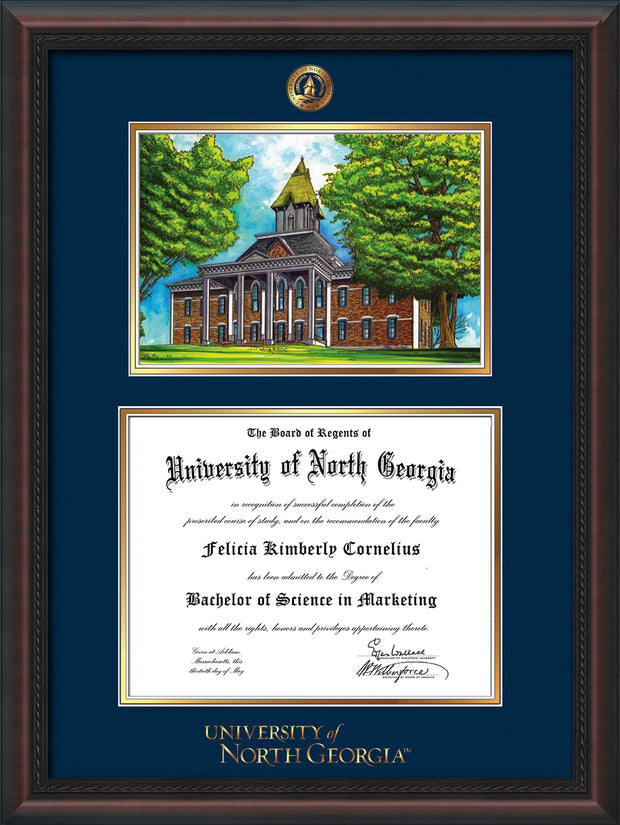 Image of University of North Georgia Diploma Frame - Mahogany Braid - w/Embossed UNG Seal & Wordmark - Campus Watercolor - Navy on Gold mat