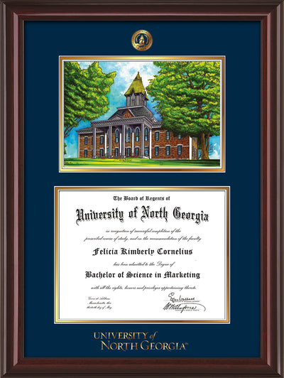 Image of University of North Georgia Diploma Frame - Mahogany Lacquer - w/Embossed UNG Seal & Wordmark - Campus Watercolor - Navy on Gold mat