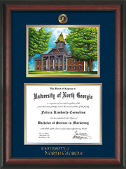 Image of University of North Georgia Diploma Frame - Rosewood - w/Embossed UNG Seal & Wordmark - Campus Watercolor - Navy on Gold mat
