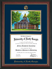 Image of University of North Georgia Diploma Frame - Rosewood w/Gold Lip - w/Embossed UNG Seal & Name - Campus Watercolor - Navy on Gold mat