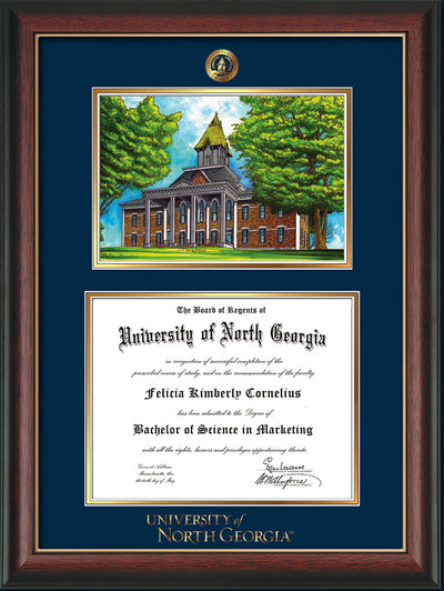 Image of University of North Georgia Diploma Frame - Rosewood w/Gold Lip - w/Embossed UNG Seal & Wordmark - Campus Watercolor - Navy on Gold mat