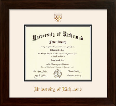 Image of University of Richmond Diploma Frame - Framer's Choice - w/Embossed Seal & Name - Off White on Black mats
