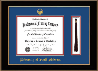 Image of University of South Alabama Diploma Frame - Black Lacquer - w/USA Embossed Seal & Name - Tassel Holder - Royal Blue on Crimson mats