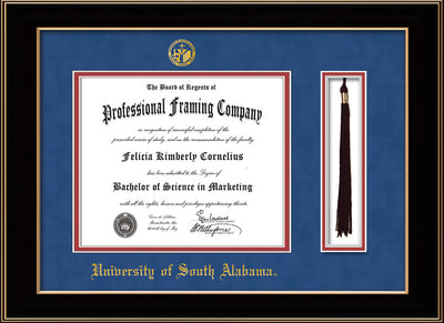 Image of University of South Alabama Diploma Frame - Black Lacquer - w/USA Embossed Seal & Name - Tassel Holder - Royal Blue Suede on Crimson mats