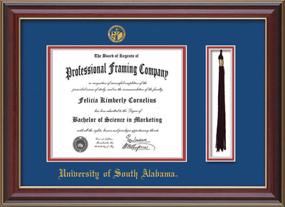 Image of University of South Alabama Diploma Frame - Cherry Lacquer - w/USA Embossed Seal & Name - Tassel Holder - Royal Blue on Crimson mats