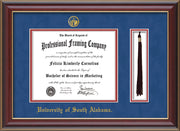 Image of University of South Alabama Diploma Frame - Cherry Lacquer - w/USA Embossed Seal & Name - Tassel Holder - Royal Blue Suede on Crimson mats