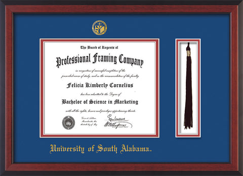 Image of University of South Alabama Diploma Frame - Cherry Reverse - w/USA Embossed Seal & Name - Tassel Holder - Royal Blue on Crimson mats