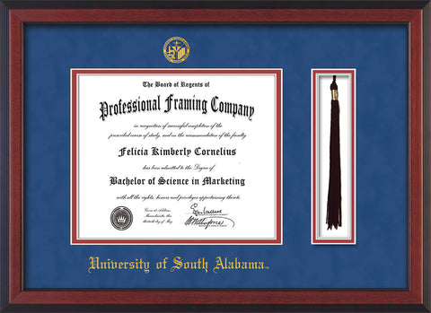 Image of University of South Alabama Diploma Frame - Cherry Reverse - w/USA Embossed Seal & Name - Tassel Holder - Royal Blue Suede on Crimson mats