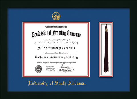 Image of University of South Alabama Diploma Frame - Flat Matte Black - w/USA Embossed Seal & Name - Tassel Holder - Royal Blue on Crimson mats