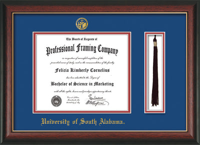 Image of University of South Alabama Diploma Frame - Rosewood w/Gold Lip - w/USA Embossed Seal & Name - Tassel Holder - Royal Blue on Crimson mats