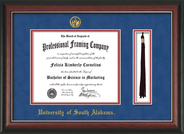 Image of University of South Alabama Diploma Frame - Rosewood w/Gold Lip - w/USA Embossed Seal & Name - Tassel Holder - Royal Blue Suede on Crimson mats