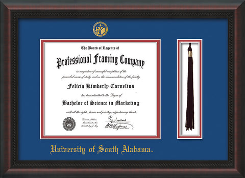 Image of University of South Alabama Diploma Frame - Mahogany Braid - w/USA Embossed Seal & Name - Tassel Holder - Royal Blue on Crimson mats