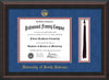 Image of University of South Alabama Diploma Frame - Mahogany Braid - w/USA Embossed Seal & Name - Tassel Holder - Royal Blue Suede on Crimson mats