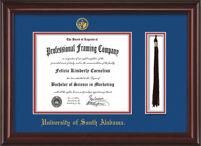 Image of University of South Alabama Diploma Frame - Mahogany Lacquer - w/USA Embossed Seal & Name - Tassel Holder - Royal Blue on Crimson mats