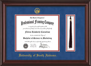 Image of University of South Alabama Diploma Frame - Mahogany Lacquer - w/USA Embossed Seal & Name - Tassel Holder - Royal Blue Suede on Crimson mats