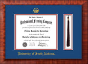 Image of University of South Alabama Diploma Frame - Mezzo Gloss - w/USA Embossed Seal & Name - Tassel Holder - Royal Blue on Crimson mats