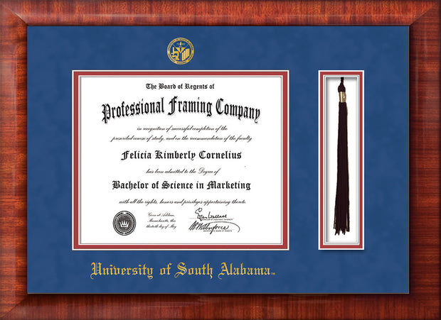 Image of University of South Alabama Diploma Frame - Mezzo Gloss - w/USA Embossed Seal & Name - Tassel Holder - Royal Blue Suede on Crimson mats