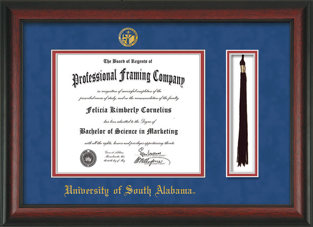 Image of University of South Alabama Diploma Frame - Rosewood - w/USA Embossed Seal & Name - Tassel Holder - Royal Blue Suede on Crimson mats