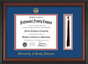 Image of University of South Alabama Diploma Frame - Rosewood - w/USA Embossed Seal & Name - Tassel Holder - Royal Blue on Crimson mats